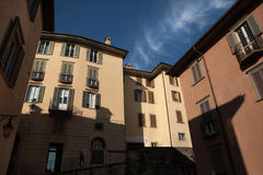 Medieval street in Bergamo, Lombardy, Italy. Stock Image