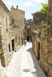 Medieval street in Catalonia Royalty Free Stock Photos