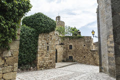 Medieval street in Catalonia Stock Photography