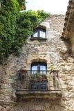 Medieval street in Catalonia Stock Photo