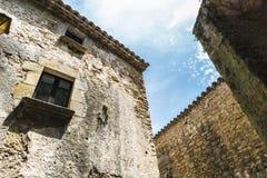 Medieval street in Catalonia Stock Photos