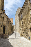 Medieval street in Catalonia Stock Images