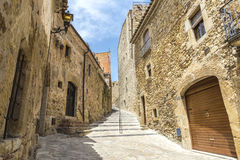 Medieval street in Catalonia Royalty Free Stock Photography