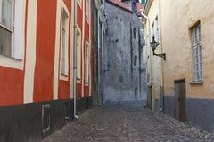 Scenic ancient street in the old town of Tallinn (Unesco), Estonia Royalty Free Stock Image