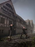 Medieval Street Fighters. Two swordsmen fighting in the street of a Medieval or fantasy town, 3d digitally rendered illustration Royalty Free Stock Photo