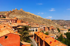 Medieval street with fortress wall in Albarracin Royalty Free Stock Photo