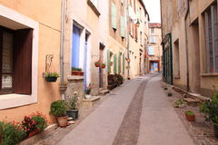 Medieval street in France royalty free stock photo