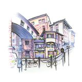 Medieval street in in Florence, Italy. Sketch. Medieval street with funny houses in the Old Town in Florence, Tuscany, Italy. Sketch made liner and markers Royalty Free Stock Photo