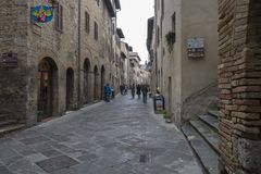 A street in San Gimignano city center, Italy stock photography