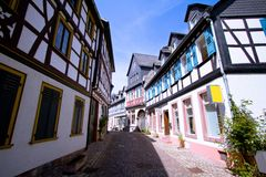 Medieval street with half-timbered houses Stock Image