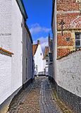 Medieval street in historical center of Courtrai Royalty Free Stock Photography