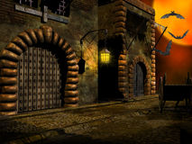 Medieval street illustration Royalty Free Stock Images