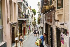 Medieval Street In Sitges Old Town, Spain Royalty Free Stock Images
