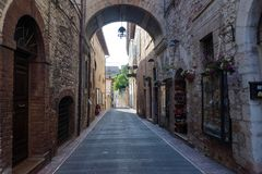 Medieval street in the Italian hill town of Assisi. Stock Image
