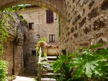 Medieval street in Italy Royalty Free Stock Photos