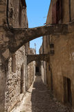 Medieval street of knight. Greece. Rhodos island. Old town. Street of the Knights photo (Now Embassy street)Greece. Rhodos island. Royalty Free Stock Photography
