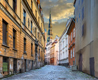 Medieval street leading to the temple, Riga, Latvia Stock Image