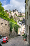 Medieval street in Luxembourg City Stock Photography
