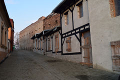 Medieval street in Medias, Romania. Royalty Free Stock Photo