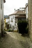 Medieval Street in Obidos, Portugal Stock Images