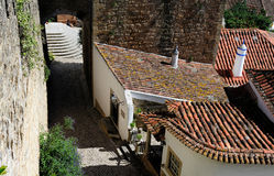 Medieval street, Obidos, Portugal Stock Image