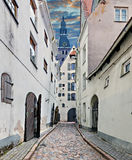 Medieval street in old city of Riga, Europe Stock Photos
