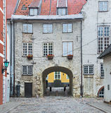 Medieval street in old city of Riga, Europe Stock Photography
