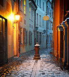 Medieval street in the old city of Riga, Latvia Stock Photo
