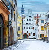 Medieval street in old city of Riga, Latvia Royalty Free Stock Images