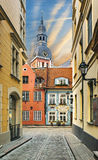 Medieval street in the old city of Riga in winter, Latvia Royalty Free Stock Photography
