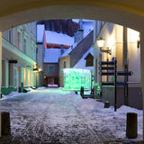 Medieval street in the old city of Riga in winter, Latvia Royalty Free Stock Image