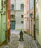 Medieval street in old European city Stock Image