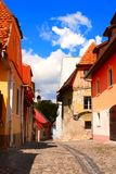 Medieval houses in fortress Sighisoara city, Transylvania, Roman Royalty Free Stock Photo
