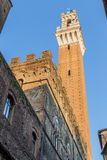Medieval street and old houses in Siena, Italy Royalty Free Stock Photos