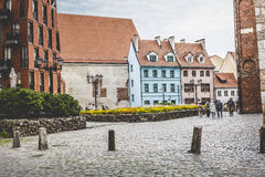 Medieval street in the old Riga city, Latvia Royalty Free Stock Photos