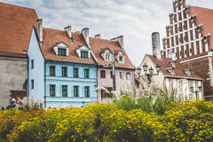 Medieval street in the old Riga city, Latvia Royalty Free Stock Image