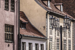 Medieval street in the old Riga city, Latvia Royalty Free Stock Images