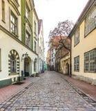 Medieval street in old Riga city, Latvia Royalty Free Stock Photos