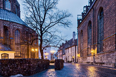 Medieval street in old Riga city, Latvia Stock Images