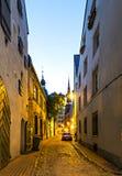 Medieval street in old Riga city, Latvia Stock Photo