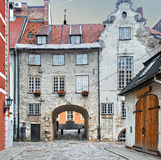 Medieval street in old Riga city, Latvia Royalty Free Stock Photography