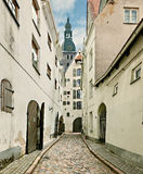 Medieval street in old Riga city, Latvia Stock Photography