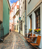 Medieval street in old Riga city, Latvia Royalty Free Stock Images