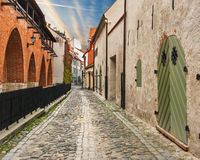 Medieval street in old Riga city, Latvia Stock Photography