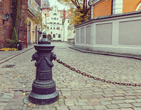 Medieval street in old Riga city, Latvia Stock Photos
