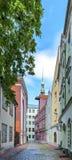 Medieval street in old Riga city, Latvia Stock Image