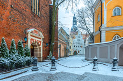 Medieval street in old Riga, Latvia Stock Photography
