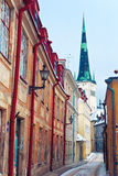 Medieval street in Old Town of Tallinn Stock Images