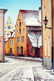 Medieval street in Old Town of Tallinn Royalty Free Stock Images