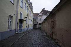 Medieval street in Old Town of Tallinn Stock Photo